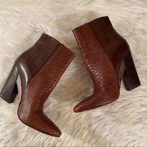 Bcbgmaxazria Sz 10 brown scaly snakeskin booties